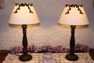 Paire de lampes : abat-jour avec dentelle ancienne