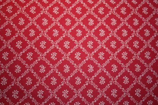 Tissu : petites fleurs et losanges taupe sur fond rouge foncé