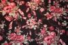 Tissu : bouquet de fleurs sur fond noir