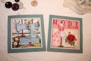 Images vintage sur tissu (thème: mode & couture)